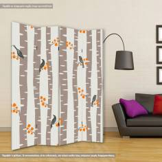 Autumn trees pattern, πτυσσόμενο διαχωριστικό (παραβάν)