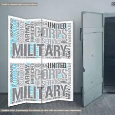 Military word cloud, πτυσσόμενο διαχωριστικό (παραβάν)
