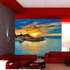 Ηλιοβασίλεμα στο νησί, ταπετσαρία τοίχου φωτογραφική