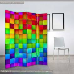 Rainbow of colorful blocks, πτυσσόμενο διαχωριστικό (παραβάν)