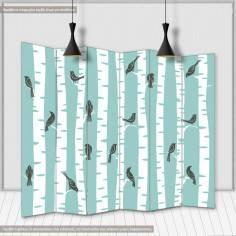 Δέντρα και πουλιά, πτυσσόμενο διαχωριστικό (παραβάν)