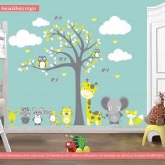 Αυτοκόλλητο τοίχου, Ζωάκια φιλαράκια στο δέντρο, ολόκληρη παράσταση με ζωάκια