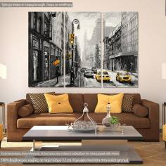 Street view of New York, yellow and grayscale, τρίπτυχος πίνακας σε καμβά
