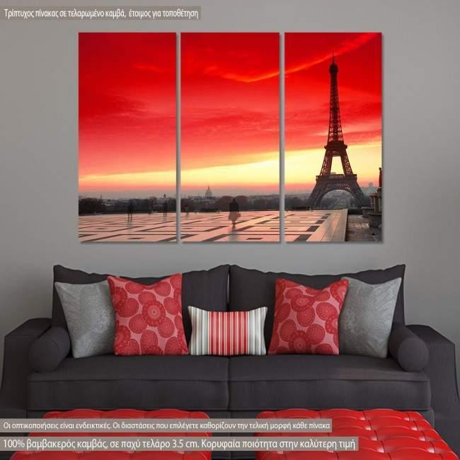 Eiffel, red sunset, τρίπτυχος πίνακας σε καμβά