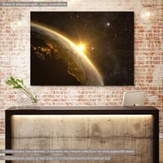 Πίνακας σε καμβά, Planet Earth with a spectacular sunrise