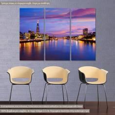 London skyline sunset City Hall, τρίπτυχος πίνακας σε καμβά