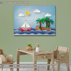 Paper sailing boat and island, παιδικός - βρεφικός πίνακας σε καμβά