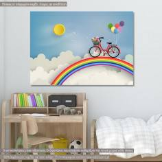 Bicycle at rainbow, παιδικός - βρεφικός πίνακας σε καμβά