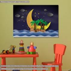 Island in the midnight, παιδικός - βρεφικός πίνακας σε καμβά