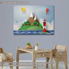 Light house, παιδικός - βρεφικός πίνακας σε καμβά