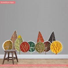 Αυτοκόλλητο τοίχου, Συστάδα απο πολύχρωμα δέντρα. My trees