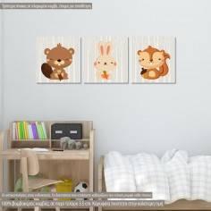 Ζωάκια του Δάσους, παιδικός - βρεφικός τρίπτυχος πίνακας με σκιουράκι, λαγουδάκι και κάστορα