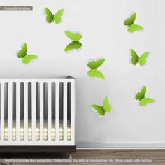 Αυτοκόλλητο τοίχου, Σετ Δίχρωμες Πεταλούδες green