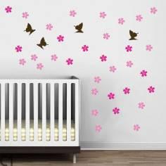 Αυτοκόλλητα τοίχου παιδικά, Butterfly Blowing Cherry dark brown, επιπλέον σχέδια