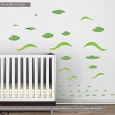 Αυτοκόλλητα τοίχου παιδικά, Λοφάκια πράσινα νησάκια και χορτάρι