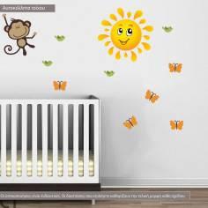Αυτοκόλλητα τοίχου παιδικά, μαϊμουδάκια σε δέντρο, Monkeys Joy, επιπλέον σχέδια