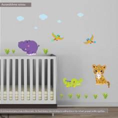 Αυτοκόλλητα τοίχου παιδικά, Ζωάκια της ξηράς, επιπλέον ζωάκια, σύννεφα και γρασίδι