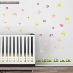 Αυτοκόλλητα τοίχου παιδικά, Πεταλούδες , πουλάκια, λουλούδια και γρασίδι