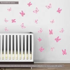 Αυτοκόλλητα τοίχου, πεταλούδες ροζ