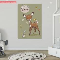 Ελαφάκι, κοριτσάκι, παιδικός - βρεφικός πίνακας σε καμβά με όνομα