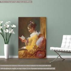 Πίνακας ζωγραφικής, A young girl reading, Fragonard J. H., αντίγραφο σε καμβά
