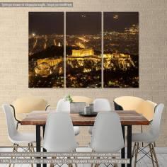 Πίνακας σε καμβά τρίπτυχος, Ακρόπολη, Acropolis in the night