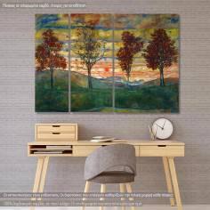Πίνακας σε καμβά τρίπτυχος, Four Trees, Schiele Egon, αντίγραφο σε καμβά