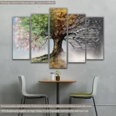 Πίνακας σε καμβά πεντάπτυχος, Four season tree