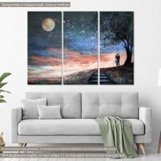Πίνακας σε καμβά, Milky Way Lovers, τρίπτυχος