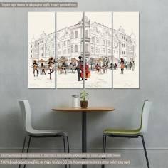 Πίνακας σε καμβά, Fashion People, τετράπτυχος