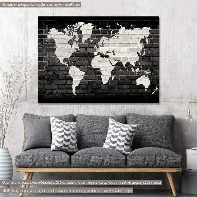 Πίνακας σε καμβά, Χάρτης Παγκόσμιος, λευκός σε μαύρο τοίχο, Bricks World Map White on Black