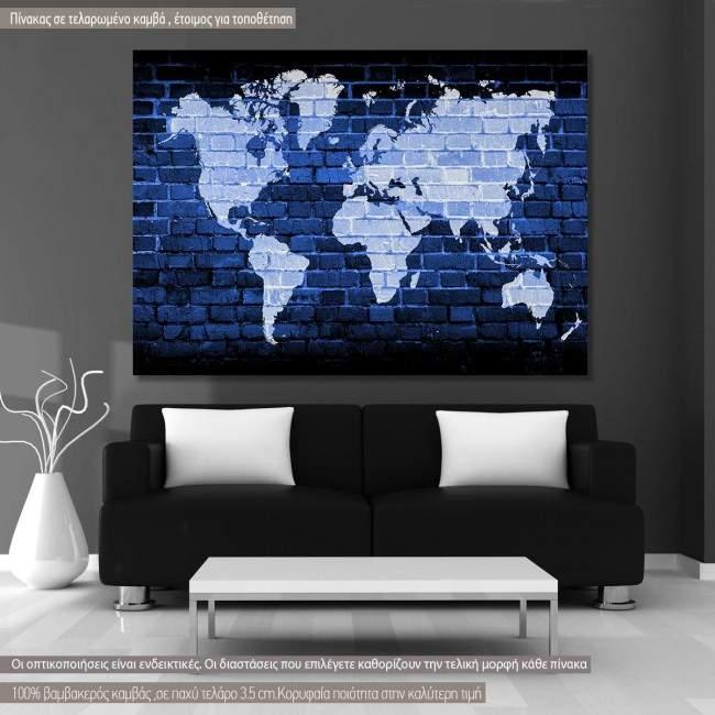 Πίνακας σε καμβά, Bricks world map multicolor
