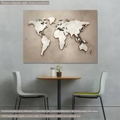 Πίνακας σε καμβά, χάρτης παγκόσμιος, World map 3d illustration