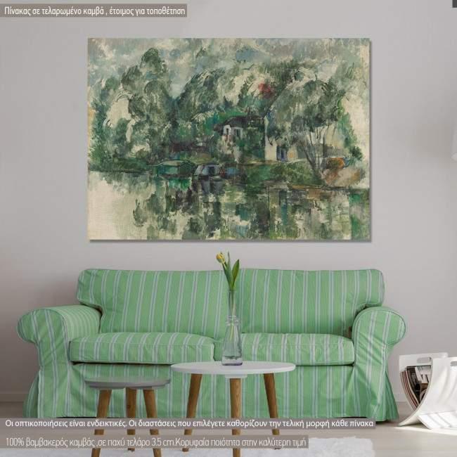 Πίνακας ζωγραφικής, At the water's edge, Cezanne P., αντίγραφο σε καμβά