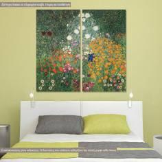 Πίνακας ζωγραφικής, Flower garden, Klimt Gustav, αντίγραφο σε καμβά, δίπτυχος