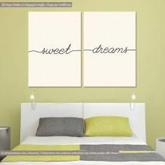 Sweet dreams minimal, δίπτυχος πίνακας σε καμβά