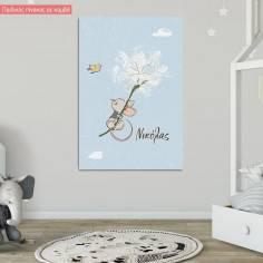 Πίνακας σε καμβά παιδικός, ποντικάκι στα σύννεφα, με όνομα
