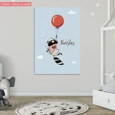 Πίνακας σε καμβά παιδικός, ρακούν με μπαλόνια στα σύννεφα, με όνομα