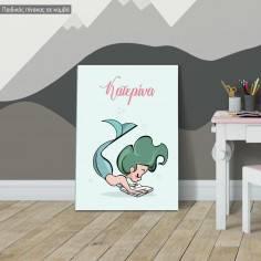 Πίνακας σε καμβά παιδικός, Γοργόνα με όνομα, σχέδιο IV
