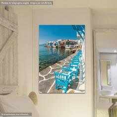 Πίνακας σε καμβά, Μύκονος μικρή Βενετία sidewalk
