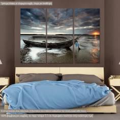 Πίνακας σε καμβά, Abandoned boat, τρίπτυχος