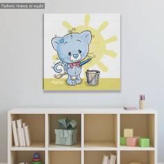 Πίνακας σε καμβά παιδικός, Γατάκι καλλιτέχνης