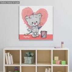 Πίνακας σε καμβά παιδικός, Γατάκι καλλιτέχνης, καρδιά