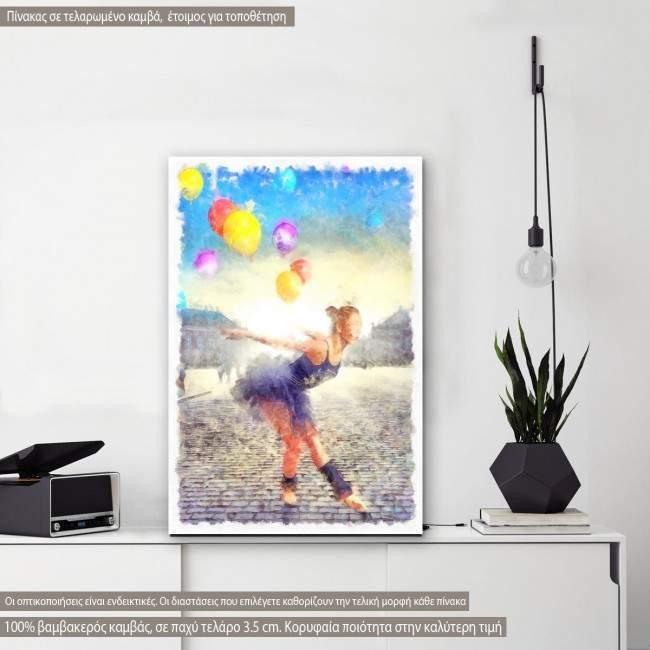 Πίνακας σε καμβά, Dancer with colorful balloons watercolor