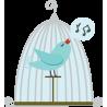 Χαρούμενο πουλί , αυτοκόλλητο τοίχου, κοντινό