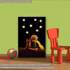 Μικρός πρίγκιπας στο νυχτερινό ουρανό, παιδικός - βρεφικός πίνακας σε καμβά