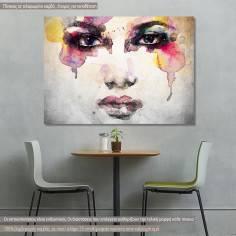 Πίνακας σε καμβά, Woman portrait watercolor