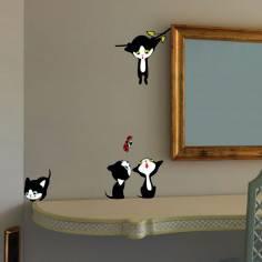 Αυτοκόλλητα τοίχου παιδικά, Παιχνιδιάρικα γατάκια παντού!