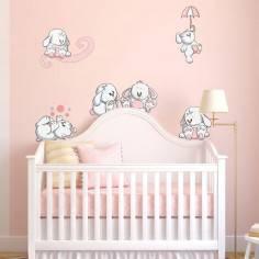 Αυτοκόλλητα τοίχου παιδικά, Κουνελάκια παντού ροζ, μεγάλη συλλογή