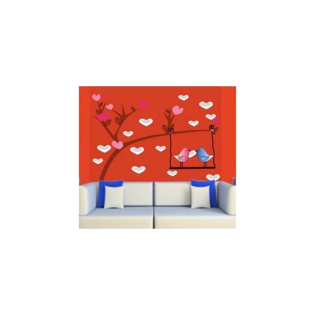 Αυτοκόλλητο τοίχου, Πουλιά σε κούνια